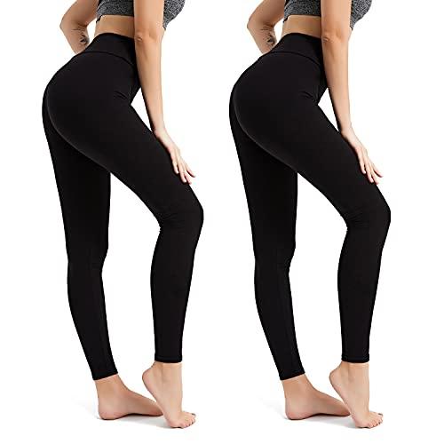 BESIDE STAR Ropa Deportiva Mujer (2 Piezas) Mallas de Deporte de Mujer, Leggins Mujer, Pantalones Mujer Crossfit Yoga Fitness Negro S
