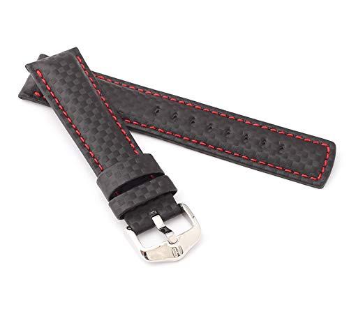 HIRSCH Herren Uhrenarmband Karbon Style Modell Carbon Größe Uhr 22 mm/Schließe 20 mm, Farbe Schwarz/rot