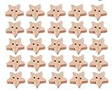Healifty 200pcs Bottoni in Legno Bottoni a Stella Bottoni Decorativi abbellimenti Bottoni a 2 Fori per Cucire Fai da Te Abbigliamento Artigianale