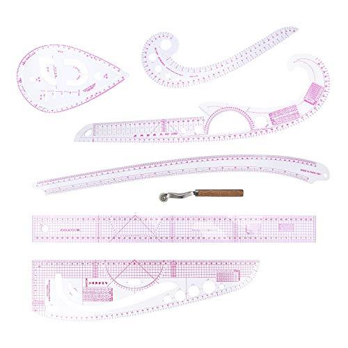 7 Style Nählineal Werkzeugsatz, Metrischer Linealsatz Französische Kurve Muster Grading Lineal Schneiderei Zeichnung Zeichnungsmaß Vorlage für Designer, Mustermacher und Schneider