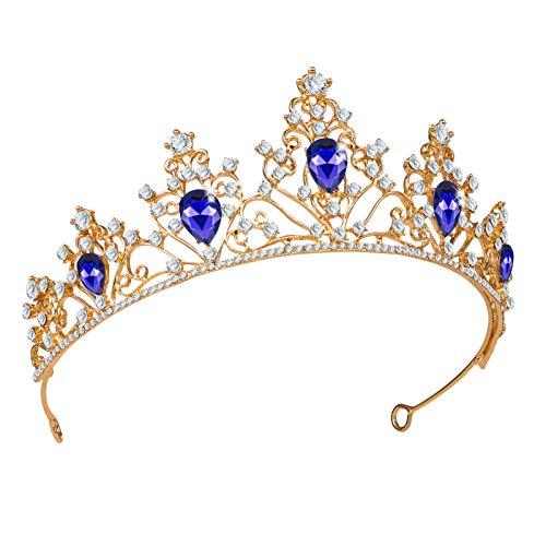 Minkissy Barroco Do Vintage Coroa de Cristal Azul Strass Casamento Da Tiara Da Coroa Nupcial Da Coroa Da Rainha Pageant Quinceanera Tiara Coroa para Festa De Aniversário Do Traje