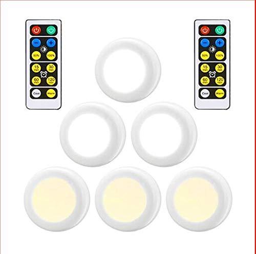 Unter Kabinett Küche Leuchten batteriebetriebenes LED Drahtlose mit Fernbedienung, dimmbare LED-Schrank-Licht for Küche, Wohnzimmer, 6-Packs