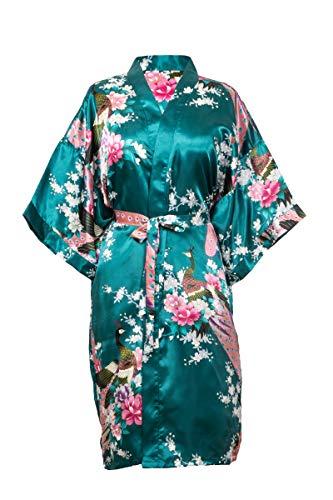 CCcollections Bademantel Robe Wäsche -Nachtabnutzung Kleidbrautjunfer Junggesellinnenabschied (Dunkelgrün (Dark Green))