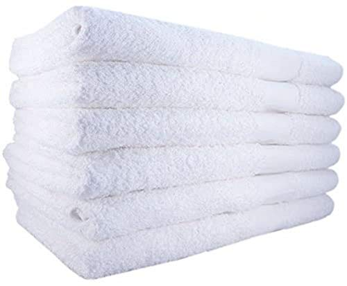 "EOM Basic White Bath Towels Cotton 22"" X 44"" 12 Pack"