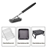 "18"" Triangle Metal BBQ Grill Cleaning Brush, Heavy Duty 3-Branch Stainless Steel Barbecue Bristles Cleaner for Easier and Effective Clean 1"