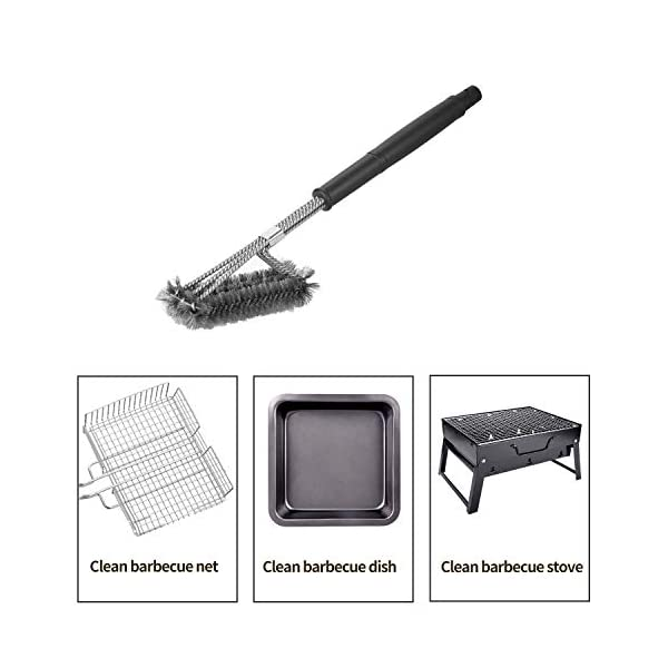 """18"""" Triangle Metal BBQ Grill Cleaning Brush, Heavy Duty 3-Branch Stainless Steel Barbecue Bristles Cleaner for Easier and Effective Clean"""