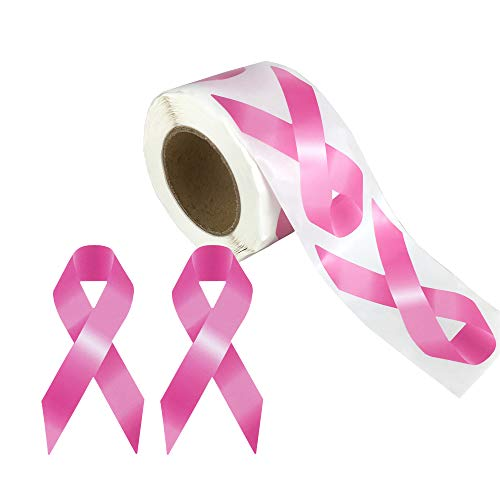 250 pcs Breast Cancer Awareness Pink Ribbon Stickers Roll, 3 x 1 1/2 Inches