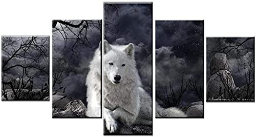 Animal WolfOil Poster Wall Fashion Picture for 5 Panel Canvas Art Print Modular Kids Room / Rahmenlos