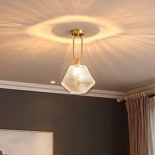 YANG1MN Lámpara de techo de cobre, iluminación decorativa, lámpara de cabeza única en el pasillo de estudio, pasillo y porche, barra de patio (E27 x 1)