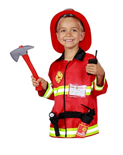 Matissa Bambini Pompiere Giochi di Ruolo Costume e Accessori Pompiere Pompiere ((Piccolo (3-5 Anni), Set di luci)