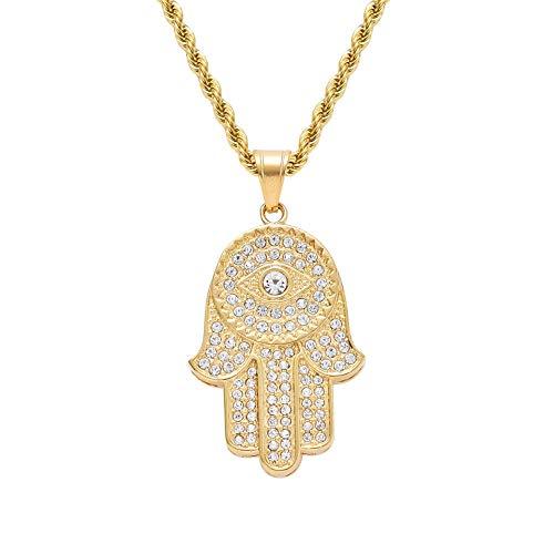 Moca Jewelry Hip-Hop - Collar de acero de titanio con colgante de mano de Fátima, cadena de acero inoxidable con cristales de estrás para hombres y mujeres