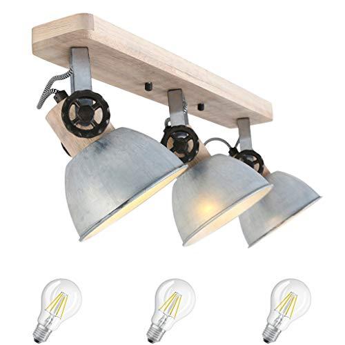 STEINHAUER 2133NI Deckenlampe Vintage Industrie Lampe Wandleuchte 3 flammig in Nickel,Edison Filament Retro 7W LED !