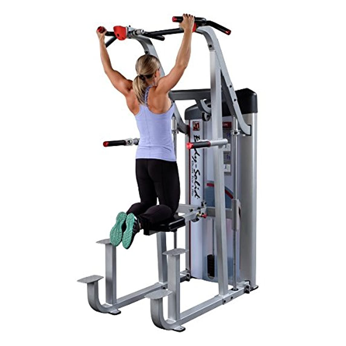 Body-Solid S2ACD Pro ClubLine Series II Weight Assisted Chin Dip Machine with 235 lb Counterbalanced Weight Stack and Rock Climbing Grips