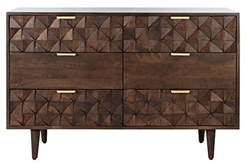 Safavieh Couture Home Collection Zinnia Modern Walnut 6-Drawer Dresser