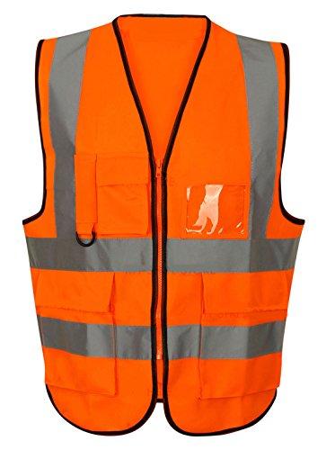 Eshopping Warehouse - Gilet da lavoro ad alta visibilità, unisex, ad alta visibilità Zip arancione/arancione L