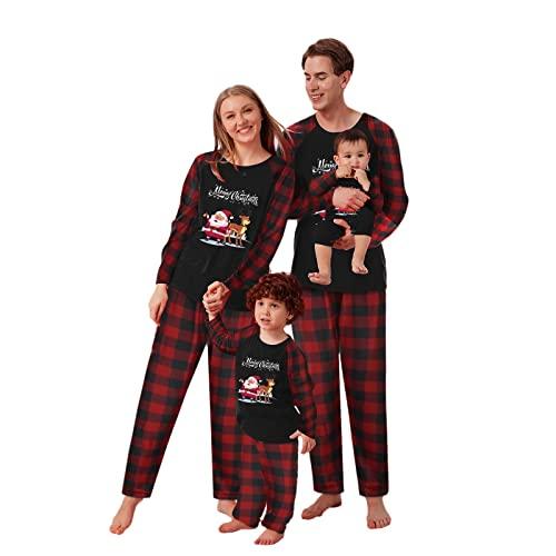 Pijamas de Navidad Familiar - Dos Piezas Ropa de Dormir Mameluco Pijamas Navideños Familiares Iguales Pijamas Bebe Niña Pijama Mujer Largo Hombre Invierno Casual Homewear