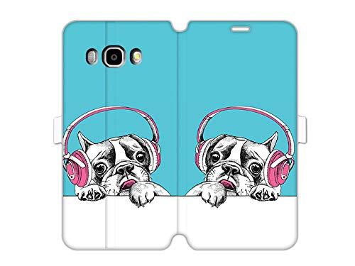 etuo - Custodia a portafoglio per Samsung Galaxy J5 (2016), motivo: cane con cuffie