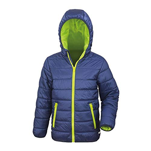 Result - Gefütterte Kinder Steppjacke/Navy/Lime, XL (152)