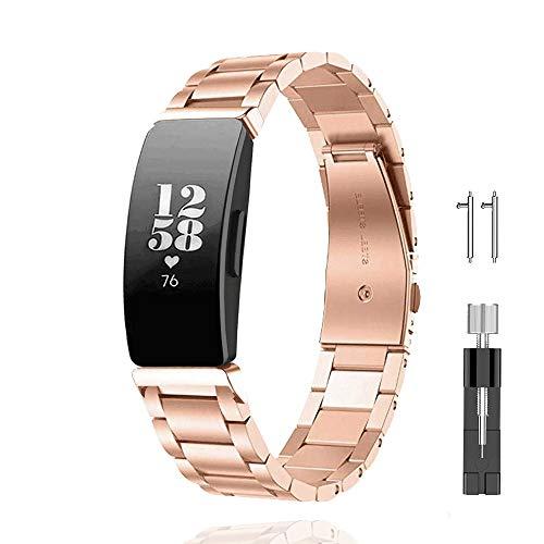 ONTUBE バンド 対応Fitbit Inspire/Fitbit Inspire HR, ステンレス製 交換 用 スポーツウォッチ ストラップスマート時計 高級感ビジネス風(調整工具付き) (ゴールド)