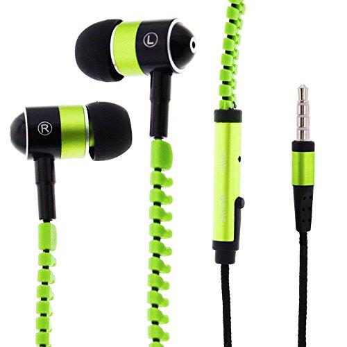 FOREVER Street Music Kopfhörer mit Reißverschluss Kabel, Ear Kopfhörer mit Mikrofon und Lautstärkeregler – Stereo Mobile Headsets Schwarz Gelb