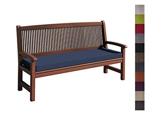 sunnypillow Coussin pour Banc de Jardin 150 x 50 x 5 cm plusieures Tailles et Couleurs à Choisir Assise Confortable pour Banc de terrasse/Balcon/Banquette/Galette de Chaise Bleu foncé