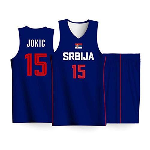 Conjunto Camiseta Baloncesto para Hombres-2019 Copa Mundo Selección Nacional De Serbia#15 Fans De Nikola Jokic Tops + Pantalones Cortos Sin Mangas Transpirable,Azul,S:170cm/55~70kg