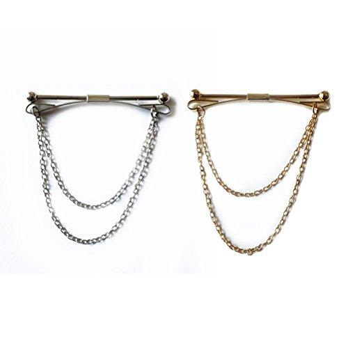 ULTNICE-Herren-Krawattennadeln mit Kette, Gold + Silber, 2 Stück