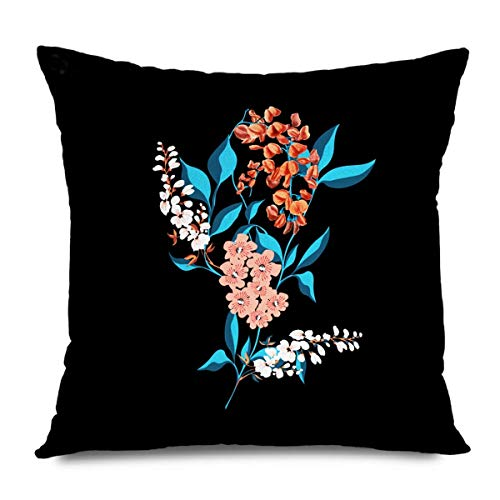 iksrgfvb Throw Pillow Cover Square 45x45CM Colorful White Beautiful Flowers Leaf Drawing Beauty Abstract Nature Green Bloom