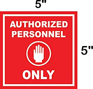 """eSplanade Authorized Person Only Sign Decal Sticker - Easy to Mount Weather Resistant Long Lasting Ink Size (5"""" x 5"""")"""