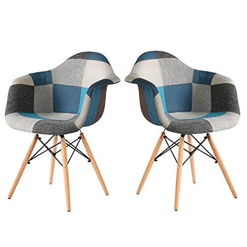 LOVEMYHOUSE Patchwork Stuhl 2er Set Retro Stoff Esszimmerstühle mit Rückenlehne Armlehne und Buche Beine Bürostuhl für Home Kitchen Lounge (Blue)