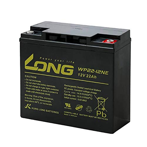LONG / WP22-12NE(産業用鉛蓄電池) WP22-12N互換 UPS(無停電電源装置) 電動バイク セニアカー 電動リール対応 サイクルバッテリー シールド型 MF
