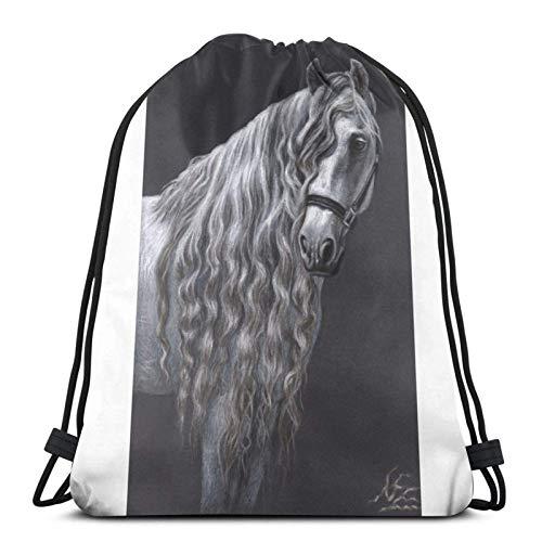 XCNGG Bolsa de Gimnasia Bolsa con cordón Bolsa de Viaje Bolsa de Deporte Mochila Escolar MochilaDrawstring Bag Andalusier Andalun Horse Floor Pillow Training Gymsack