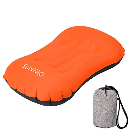 SUNYAO Ultralight Inflatable Camping Pillows - Compressible, Compact, Inflatable, Comfortable, Ergonomic Pillow for Neck & Lumbar Support While Camping, Backpacking,Hiking