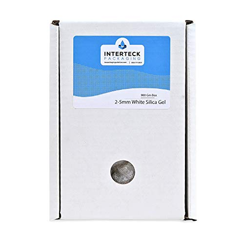 [1 Pack] - INTERTECK PACKAGING 900 Gram Box - 2-5mm Premium White Silica Gel Desiccant Dehumidifier for Gun Safe, Electronics, and Filament Dryer - Rechargeable Bag (Non-Indicating), 66 Cubic Ft.