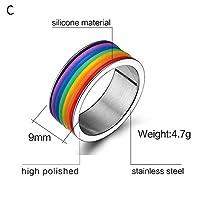 ZYZRYP メンズ・レディース・レインボーカラフルなリングラウンド婚約結婚指輪ステンレス鋼トレンディバンドレズビアン&ゲイカップルリングジュエリー 使いやすい (Main Stone Color : C, Ring Size : 8)