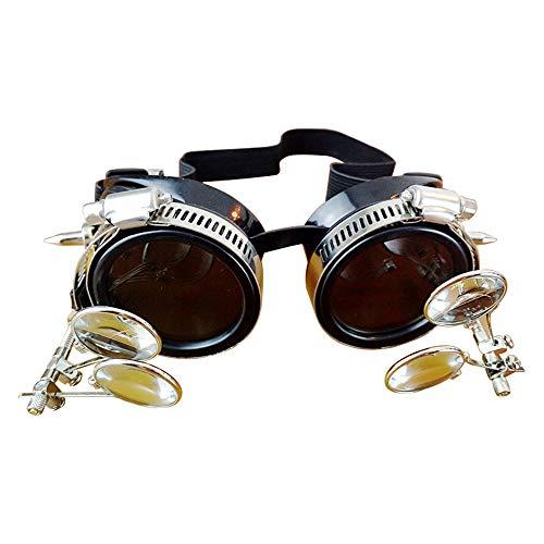 DRAKE18 Gafas Steampunk, Parabrisas de Estilo Industrial Vintage Halloween Cosplay Accesorios para...