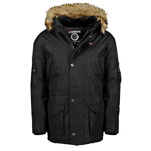 Geographical Norway ABIOSAURE MEN - Herren Warme Wintermantel Jacke - Kapuze Outdoor Winterjacke - Winter Winddichte Jacke - Ideale Jacke Geschenk Für Männer (Schwarz XXL)