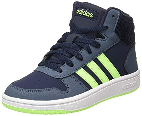 adidas Hoops Mid 2.0 K, Scarpe da Pallamano, Legend Ink/Signal Green/Legacy Blue, 34 EU