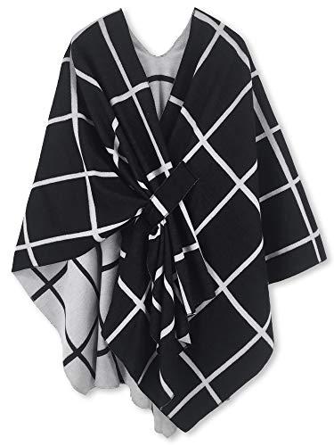 Manta de punto para mujer, diseño cuadrado, chal de punto, Color 15, Talla única