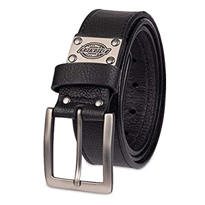 Dickies Men's Leather Classic Casual Belt with Plaque, Black Two, 42 (Waist: 40)