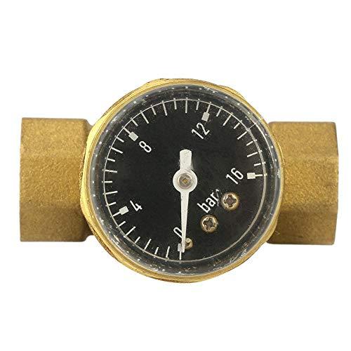 Druckreduzierungsventil Messing Reduzierventil, Keenso Messing 1,27 cm Wasserdruckreduzierung, mit Messingmesser, verstellbarer Wasserdurchfluss