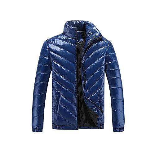 YUQIBXC Herren-Daunenjacke ohne Kapuze, Winterjacke, Daunenjacke, Daunenjacke, leichte Wintermantel, geeignet für Männer M-5XL, Herren, Marineblau, L