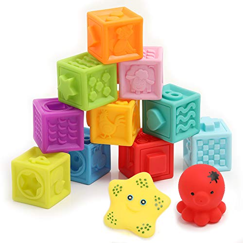 Baby Blocks - Soft Easy to Squeeze Sensory Stacking Blocks for Babies - Textured Educational Baby Toys Teethers with Animal Number Shape Textures - for Babies 6 Months & Up, 10-pcs with 2 Squeezers