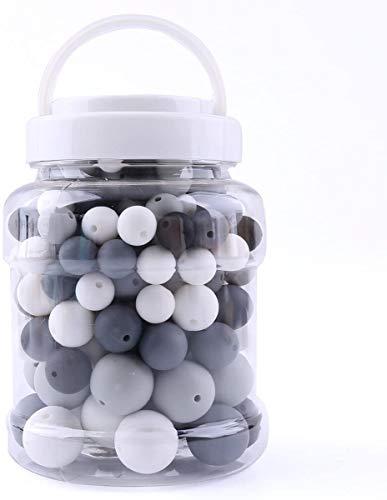 baby tete Perles de dentition en Silicone Rond à Croquer (12-20mm) 200pcs Bracelet de Bricolage Composants de Bijoux de Chaîne de Sucette de Bébé Bouteille Sans BPA Noir et Blanc