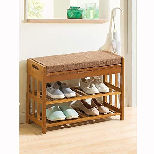 Schuhregal, Bambuslatten Household Home Multilayer Assembly Schuhkarton Wirtschaftlicher Typ Schuhbank 100% natürlicher Bambus Schuhablage (Größe: D)