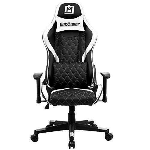 Deco Gear DGCH01 White Ergonomic Foam Gaming Computer Chair with Adjustable Head and Lumbar Support, Hydraulic Seat Adjustment, Adjustable Armrests, 360-Degree Spin, Rolling Caster Wheels