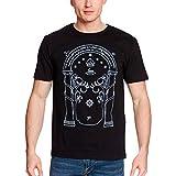 Elbenwald Las Puertas de la Camiseta de los Hombres de Durin Brillan en la Oscuridad para los fanáticos de El señor de los Anillos algodón Negro - L