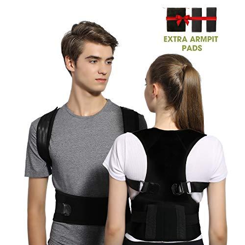 Posture Corrector for Women and Men FDA Approved Adjustable Back Support Brace with Lumbar Waist Support, Magnetic Upper Back Straightener Brace Providing Shoulder-Neck-Back Pain Relief (M)