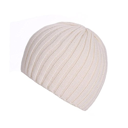 Amlaiworld Strickmützen, Unisex warm Knit ski Baggy Cap Winter Hat (Weiß)