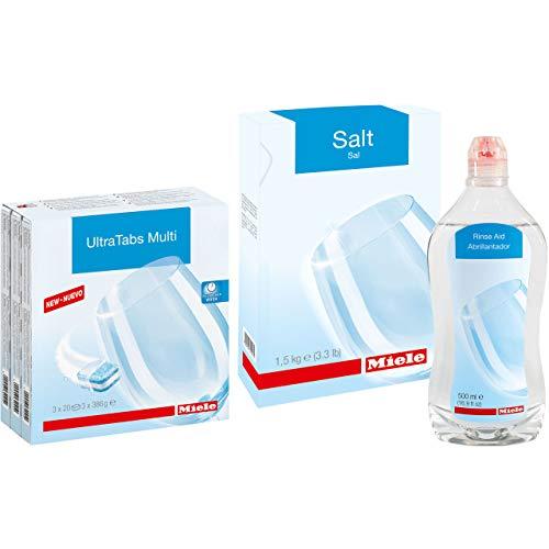 Miele Care Collection Bundle: Dishwasher Tabs (60ct) Plus Reactivation Salt (1.5kg) Plus Rinse Aid (16.9oz)